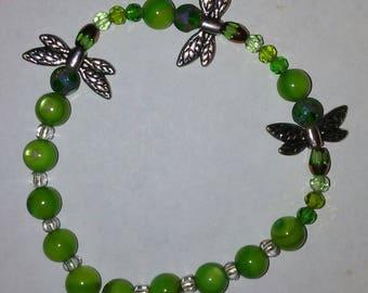 Green Dragon Fly Bead Bracelet
