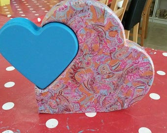 Decoupaged personalised interlocking MDF hearts - your choice of colour and writing