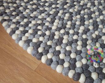 Felt Ball Rugs 90 cm - 250 cm Natural Earth Tone (Free Shipping)