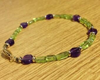 Elegant 9ct Gold Tanzanite and Amethyst beaded bracelet.