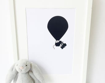 Elephant Nursery Print - Monochrome - hot air balloon- nursery decor - framed nursery prints - Christening gift - baby room print