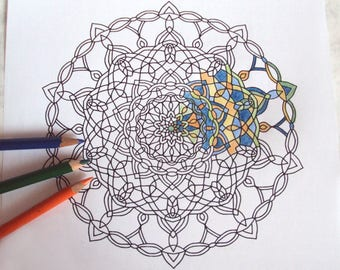 Adult Colouring Page 4 - PDF Printable Drawing - Intricate Mandala Art 'Deco' - Instant Download