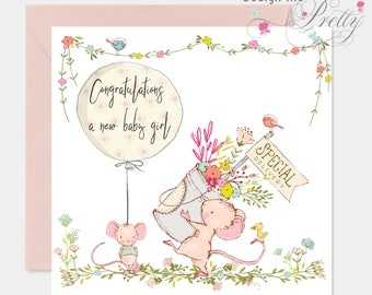 New Cute Mouse Baby Girl Birth Card