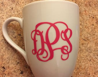 Classy, Beautiful Monogrammed Coffee Mug or Wine Glass!