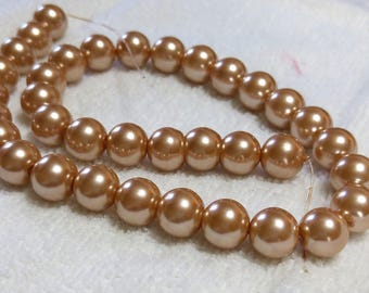 Champagne color 12mm Glass Pearls- Round