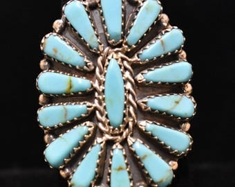 Sterling Silver Ring W/ Blue Turquoise Needlepoint, Navajo SS New Mexico
