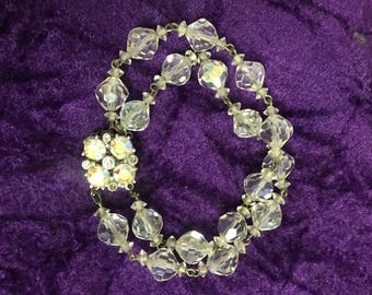 Vintage Double Strand Clear Glass Beaded and Rhinestone Bracelet