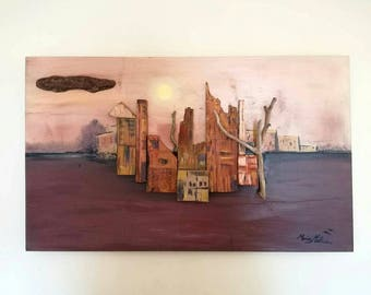 Abstract Cityscape in Sunset, Mixed Media Oil Painting on Wood, Pastel Soft Colors Large Wall Decor, Wooden 3D Art