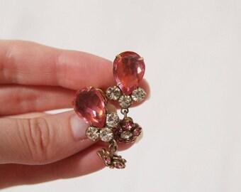 70s Vintage Pink Flower Earrings