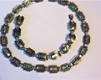 Modernist TAXCO 1940's Signed LOS BALLESTEROS Iguala Mexico Sterling Silver and Abalone Shell Necklace and Bracelet