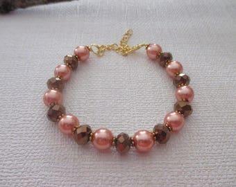 Bracelet beads orange and Brown