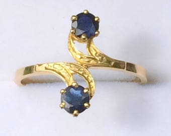 Old ring yellow gold 18 k two sapphires - Antique ring with Sapphires and 18 k gold