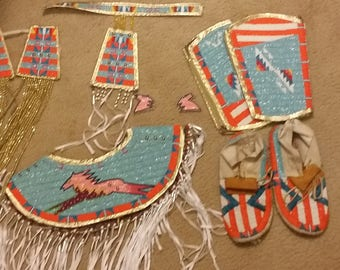 Young Girls Beaded Powwow Set