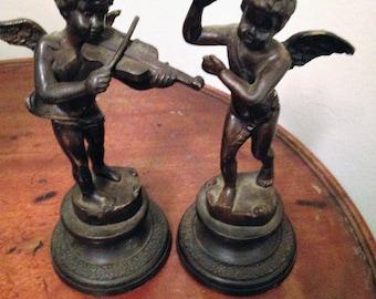 Victorian Bronze Cupid Musician Sculptures