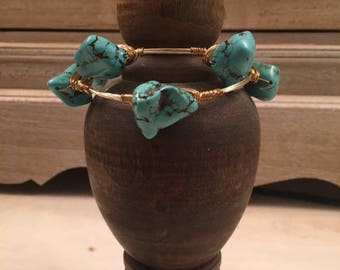 Turquoise Stone and Gold Bangle Bracelets