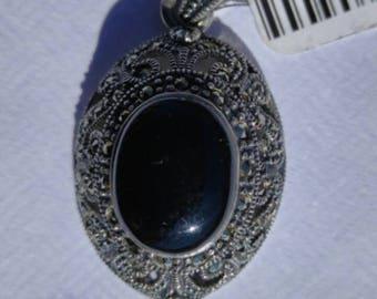 925 Genuine Sterling Silver, Onyx, Marcasite Pendant