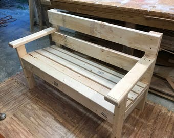 Unfinished park bench