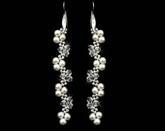 Swarovski crystals and pearls earrings. Free UK delivery.