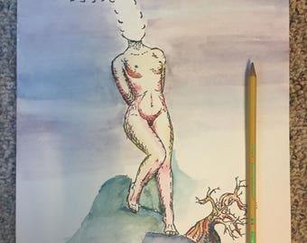 beautiful and creative original artwork, watercolor painting, micron pen sketch