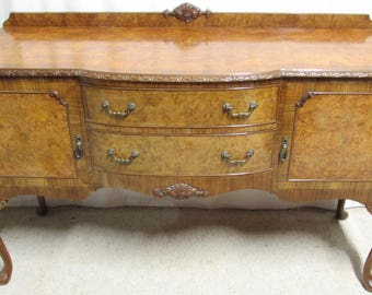 Antique English Burr Walnut Sideboard or Dresser