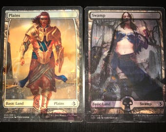 Gideon and Liliana Altered Basic Lands- Plains and Swamp