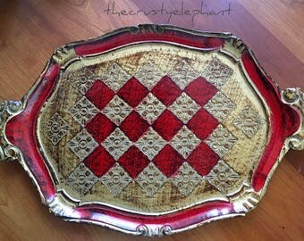 Vintage Florentine Tray Made in Italy Red and Gold