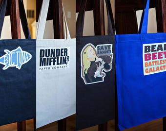 The Office - Canvas Bags with Applique of your choice