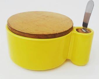Vintage Lemon Yellow Japanese Serving Dish. Large Condiment Cannister. Large Dip Bowl. Ceramic Serving Dish.