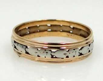 14k White and Yellow Gold Floral Wedding Band or Stacking Ring