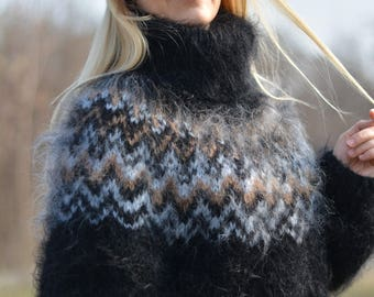ORDER handmade ICELANDIC sweater mohair jumper fuzzy pullover hand knitted Tneck soft sweater relaxed fit warm sweater mens jumper Dukyana