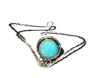 Turquoise silver plated ethnic bohemian upper arm bracelet armlet