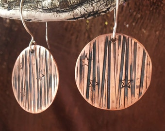 copper stamped disc earrings