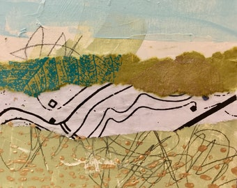 Mixed Media Collage Painting on Wood- The Meadow