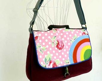 Rainbow Bag, Rainbow Sling, Rainbow Satchel, Rainbow Messenger Bag, Fabric Satchel, Floral Fabric Bag - Dotty Rosey Fabric Print