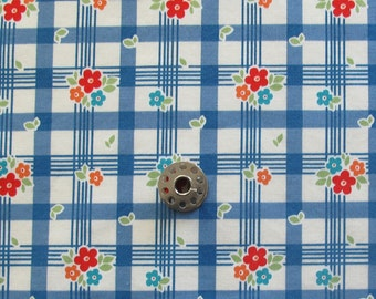 FAT EIGHTH Retro Checked Floral Print Quilting Cotton | Blue Cotton Fabric from Riley Blake