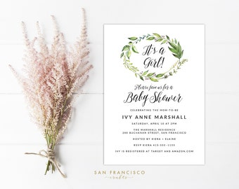 Girl Baby Shower Invitation INSTANT DOWNLOAD |  Editable Baby Shower Invite Template | Greenery, Leaves, Plum, Mauve  | Printable PDF