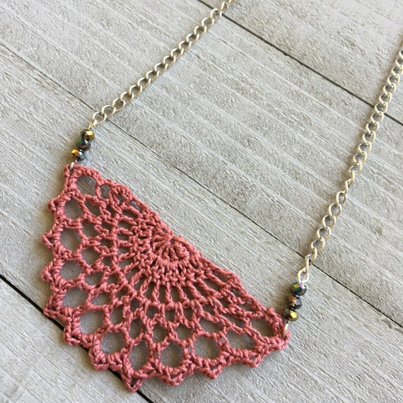 "Crochet Necklace Boho Chic Necklace Crocheted Necklace Pendant Festival Jewelry Gift for Her  - 19"" Chain with Crochet Lace in Blush Pink -"