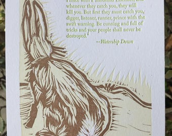 Watership Down letterpress print