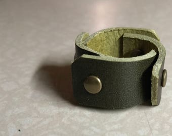 Olive Leather Scales Ring Size 8 - ALL PROFITS donated to the ACLU