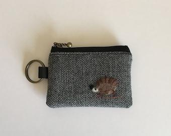 Key/coin purse - wool dark grey herringbone with  a hedgehog applique