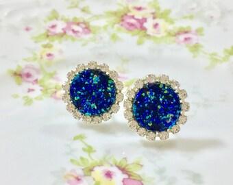 Blue Druzy Rhinestone Studs, Celestial Starry Night Studs, Rhinestone Earrings, Blue Drusy Studs, Druzy Jewelry (HJ3)