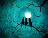 Three Black Cats Wall Art Teal Blue Full Moon Silhouette Fantasy Zen Tree Branch Iverson Original Painting on Canvas