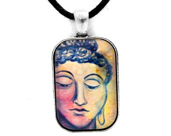 Kind Buddha Face Pendant Buddhist Buddhism Necklace Zen Abstract Handmade Spiritual Jewelry for Men or Unisex