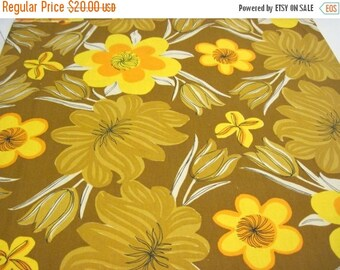ON SALE Vera Vintage Brown Yellow and Orange 50 inch Square Tablecloth, Vera, Tablecloth