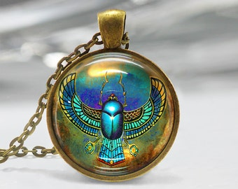 Egyptian Scarab Pendant, Scarab Art Necklace, Scarab Jewelry, Beetle Art Pendant, Scarab, Scarab Pendant, Egyptian Art, Bronze Silver, 1212