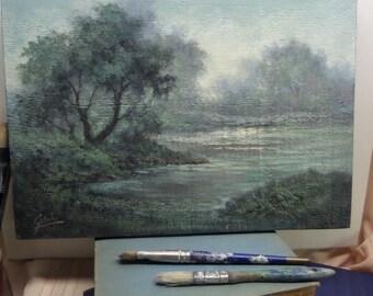 Lake landscape, Rustic wood panel, Original Acrylic Tonalist Painting by Griselda Tello