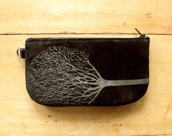Tree Phone Pouch Black Suede