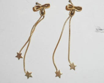 14K Yellow Gold Bow and Stars dangle vintage Earrings SALE
