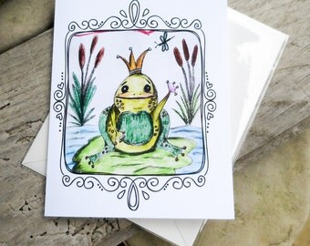 Cute Frog Drawing || Frog Prince Drawing | Blank Note Card | Just Because Card | Frog Lovers | Original Drawing Note Card | Cute Blank Card