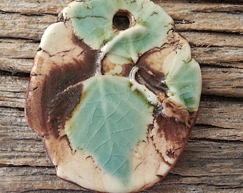 Birch Leaves Pendant Porcelain Ceramic Turquoise Crackle by Mary Harding